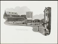 226 Een fotocollage van de oorlogsschade door de Tweede Wereldoorlog en van de wederopbouw daarna. Met een bord waarop ...