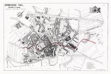 244 Een plattegrond van de stad Tiel. Met een legenda van de belangrijke gebouwen. Uitgave van de drukkerij ...