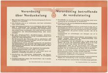 249 Een aanplakbiljet met de verordening betreffende de verduistering, algemeen voor Nederland tijdens de Tweede ...
