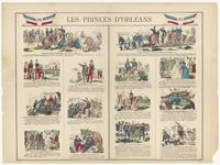 282 Een historieprent met als onderwerp de vorsten van Orleans, met verschillende afbeeldingen die de wapenfeiten weergeven