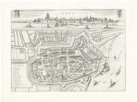 291 Een plattegrond van Tiel met boven een stadsprofiel vanaf de Waalzijde, met de wapens van Gelre en van Tiel. Links ...