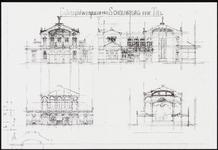 339 Drie ontwerptekeningen en een schetsontwerp in facsimile uit het archief van architect Salm (Amsterdam), fdknr. ...