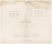 344 Een bouwtekening met een voorgeveltekening van een woning, een voorgeveltekening van een bergplaats of koetshuis en ...
