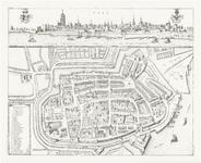 357 Een plattegrond en een profiel van de stad Tiel met linksonder een lijst met de namen van de kerken en van de ...