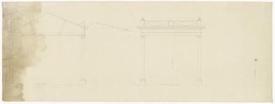374 Een bouwtetekening van een open bergplaats met een doorsnede en een vooraanzicht, [1890]