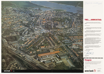394 Een luchtfoto van de Tielse binnenstad vanuit het westen gezien vanaf het spoorwegstation tot aan de Waal