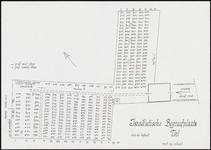 421 Een plattegrond van de Israëlische begraafplaats in Tiel aan de Voor de Kijkuit, met grafnummers van de graven met ...