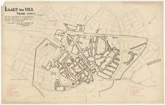 425 Een plattegrond van de stad Tiel, met een aanduiding en legenda van alle belangrijke gebouwen en industrie, met een ...