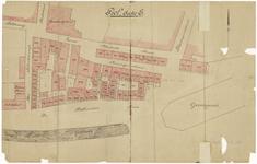 435 Een kadastraal plan van de Tielse binnenstad met een deel van sectie E omgeving Bleekveld, Wethouderskade, ...