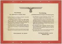 439 Een aanplakbiljet met een algemene bekendmaking van een verordening betreffende het niet geoorloofde bezit van ...