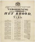 442 Een aanplakbiljet met de afkondiging van een verordening betreffende de verkoop van brood binnen de gemeente Tiel, ...