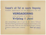 445 Een aanplakbiljet aan het einde van de Tweede Wereldoorlog met een oproep aan de evacués uit Tiel en naaste ...