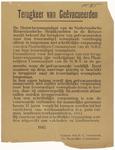 447 Een aanplakbiljet met een algemene bekendmaking bestemd voor de terugkeer van de geëvacueerden naar Tiel vlak na de ...