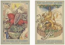 449 Twee gekleurde platen die de onderdrukking en de bevrijding verbeelden van Nederland tijdens de Tweede ...