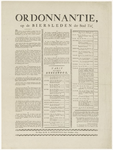 451 Een aankondiging met een ordonnantie op de biersleden der stad Tiel met de verschillende artikelen waaraan de ...