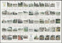 463 Een ongesneden drukvel van een kwartetspel met gebouwen te Tiel, uitgegeven door de gemeente Tiel