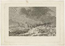 464 Een stadsprofiel van Tiel met opkruiend ijs voor de stad op de Waal in 1799. Op de afbeelding staan centraal de ...