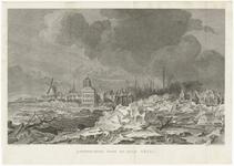 465 Een stadsprofiel van Tiel met opkruiend ijs voor de stad op de Waal in 1799. Op de afbeelding staan centraal de ...