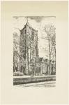 489 Een aanzicht van de Sint-Maartenskerk in Tiel, gezien vanaf de Hucht. In 1957 is de toren nog zwaar beschadigd als ...