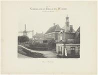 506 Een aanzicht van de Waterpoort, de Sociëteit, het veerhuis en van de molen aan de Tolhuiswal in Tiel