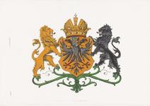 511 Een ingekleurd stadswapen van Tiel in oranje, zwart, groen, rood en blauw