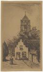513 Een aanzicht van het bekende trapgeveltje aan het Bleekveld/Koninginnenstraat in Tiel. Op de achtergrond de ...