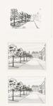 532 Een tekening van een herinrichting met bomen van het Plein richting museum de Groote Sociëteit gezien vanaf de ...
