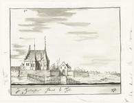 541 Een tekening van de Zandwijkse Poort in Tiel gezien vanaf de Waalzijde, [1750]
