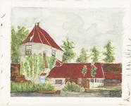 553 Een aanzicht van de Strooitoren in Tiel naar het origineel in het streekmuseum de Groote Sociëteit te Tiel. De ...