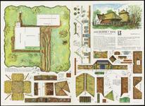 559 Een bouwplaat en een prentbriefkaart van een Gelders T-huis uit de 17de eeuw. Het betreft een plaat gemaakt met ...