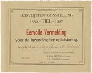 565 Een eervolle vermelding voor de inzending ter opluistering voor mejuffrouw M. Verbrugh, ter gelegenheid van de ...