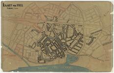 570 Een plattegrond van de gemeente Tiel. De gemeente grenzen zijn aangegeven en mogelijk met rode punten de ...