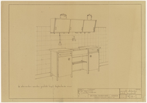 577 Een ontwerp voor een aanrecht volkskeuken met enkele bovenkast door Bruynzeel deurenfabriek, Zaandam, 1945