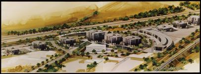584 Twee aan elkaar geplakte foto's met een ontwerp van een stadsplan van de omgeving tussen de Rijksweg A15 en de ...