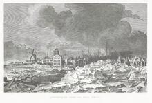 589 Een stadsprofiel van Tiel met opkruiend ijs voor de stad op de Waal in 1799. Op de afbeelding staan centraal de ...