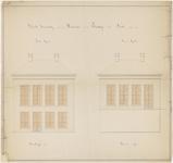 645 Een bouwtekening van een woning gebouwd in de Plantage. Getekend zijn de voorgevel aan de dijk en achtergevel aan ...