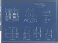 646 Een bouwtekening van de herenhuizen aan de Lingedijk, hoek Stationsstraat 2 t/m 8. Gebouwd in opdracht van de heer ...