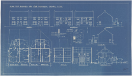 649 Een bouwtekening voor vier woningen aan de Hoveniersweg 42, 44, 46 en 48, met een situatieschets. De tekening toont ...