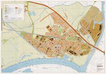 663 Een plattegrond van de gemeente Tiel, met linksboven een legenda en op de achterzijde een kaart van Wadenoijen en ...