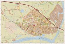 664 Een plattegrond van de stad Tiel, met op de achterzijde een legenda en een straatnamenlijst
