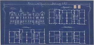 666 Een bouwtekening van de vier herenhuizen aan de Stationsstraat 10 t/m 16, in opdracht van J.N. Daalderop. De ...