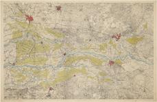 670 Een overzichtskaart van het Rivierengebied met de Waal, de Maas en de Rijn, waarop de poldergebieden in het groen ...