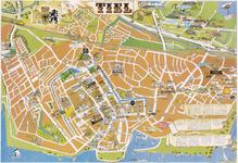 674 Een plattegrond in kleur van de Tielse binnenstad met daarop met plaatjes aangegeven de panden van de ...