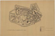 680 Een plattegrond van Tiel met een schetsplan voor de herbouw van Tiel, met een legenda voor de bestaande of te ...