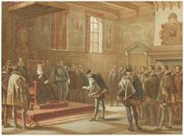 683 Een historische afbeelding van het aanbieden van een smeekschrift door de edelen aan de landvoogdes Margaretha van ...