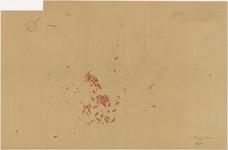688 Een plattegrond van Tiel met daarop aangegeven de panden die in de Tweede Wereldoorlog zijn vernietigd en waarop ...