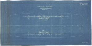 722 Een tekening van de opstelling van het aandrijfmechanisme van de motor-veerpont bedoeld voor de gemeente Tiel