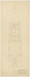 725 Een tekening van de westzijde van de Nederlands-hervormde Sint-Maartenstoren in Tiel