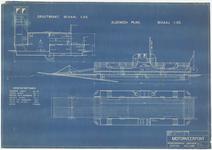 751 Een ontwerp van de Tielse motorveerpont, Tiel-Wamel, met bovenaanzicht en doorsnede tekeningen