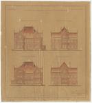 752 Een ingekleurde bouwtekening van de gevels van het burgerweeshuis aan de Achterweg in Tiel, blad 2